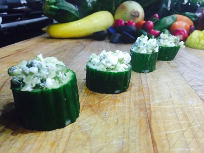 Cucumber, Feta and Oregano Salad in Cucumber Cups