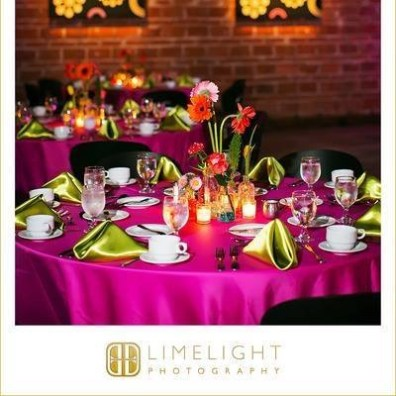 Colorful Table Setting at a Wedding