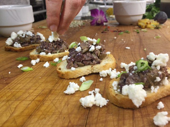 Olive Tapenade Crostini Topped with Feta Cheese