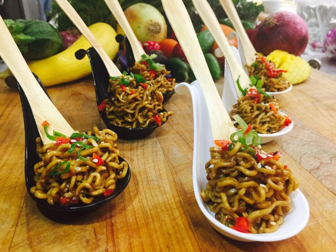 Sesame Noodle Twirls Served in Asian Spoons
