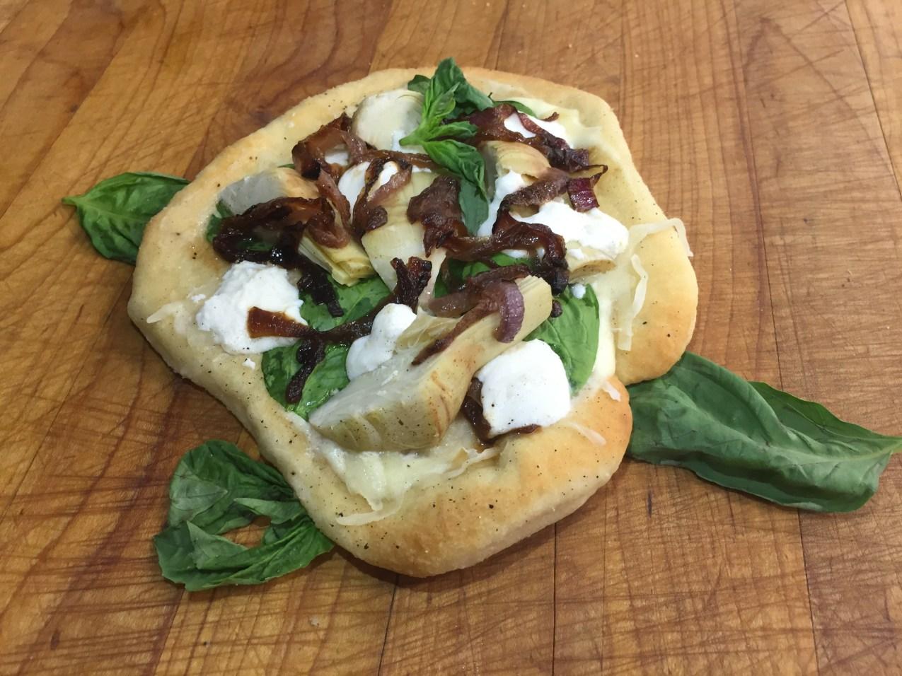 Artichoke, Fresh Spinach, Caramelized Onion and Fresh Mozzarella