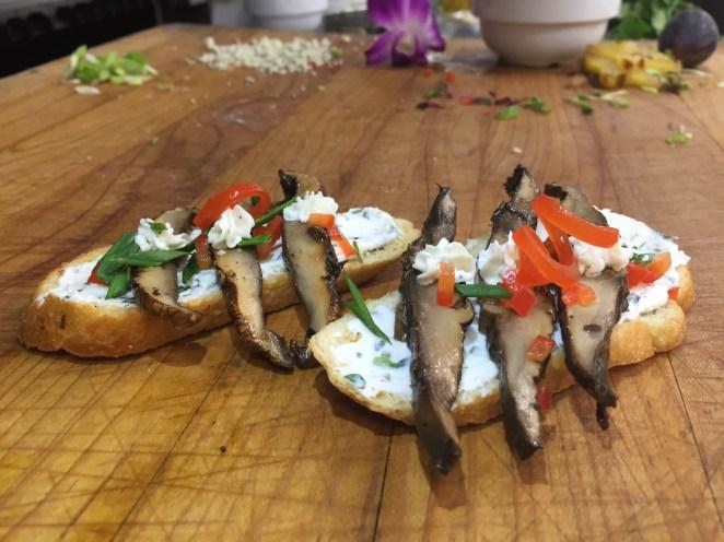 Balsamic Marinated Portobello Mushrooms and Herbed Goat Cheese Crostini