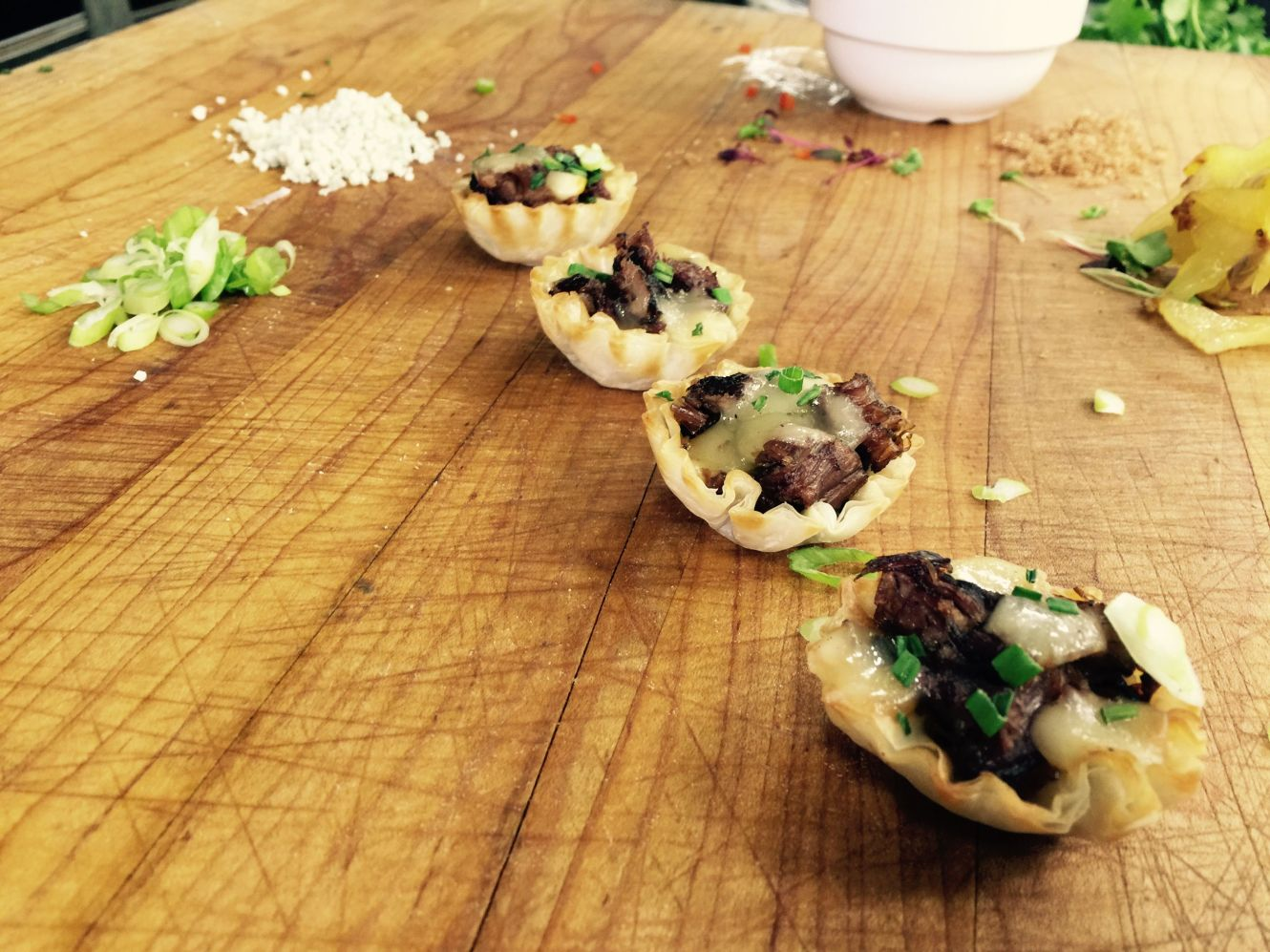 Braised Short Rib, Caramelized Onion and Fontina Cheese Tartlet