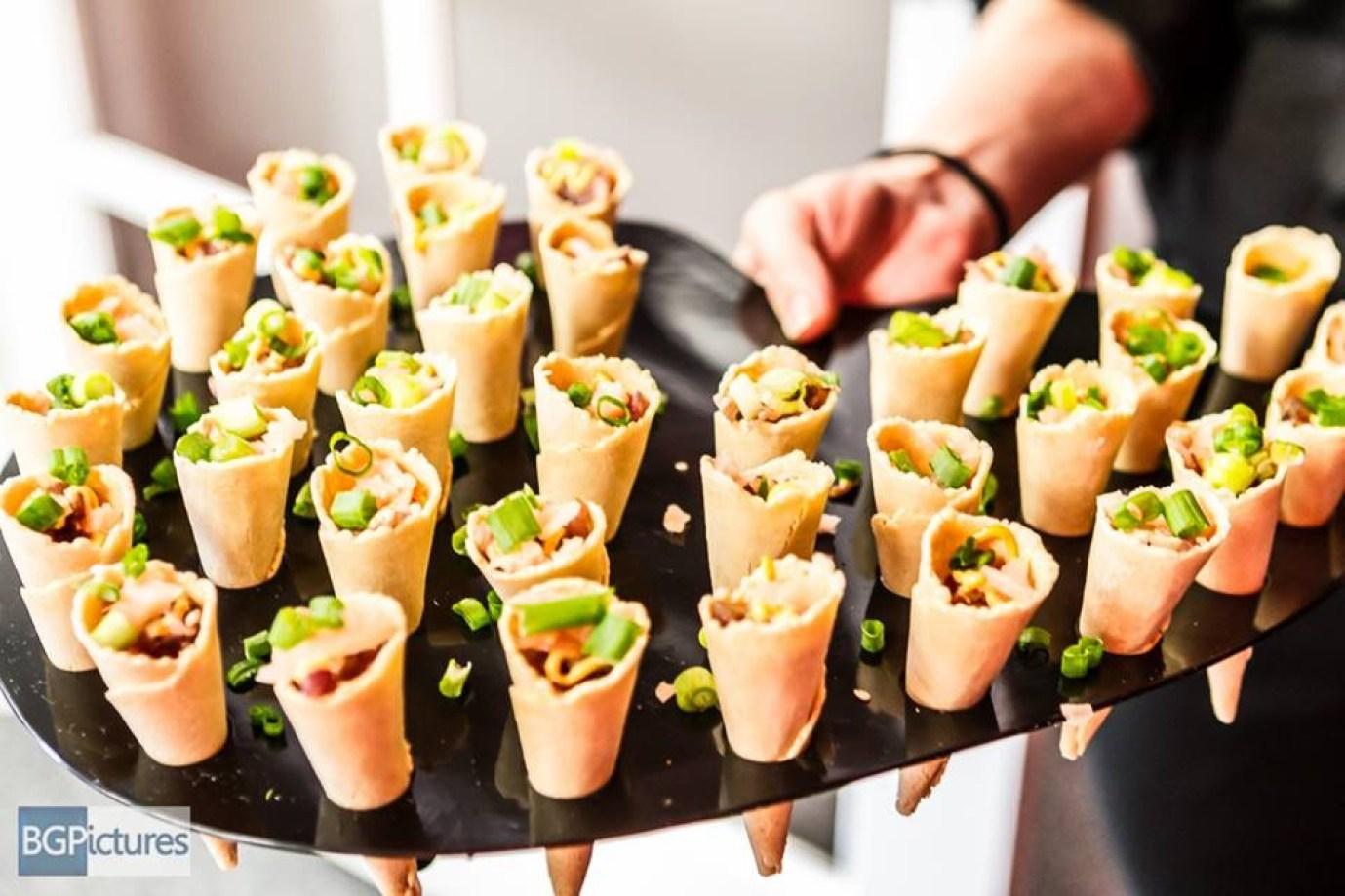 Italian Seafood Salad Served in Mini Savory Cones
