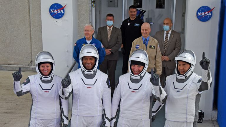 Cape Canaveral, FL - November 15: (LR) NASA Astronauts, Mission Specialist Shannon Walker, Vehicle Pilot Victor Clover, Commander Mike Hopkins and Japan Aerospace Exploration Agency (Jaxa) Mission Specialist and Novelist in Space Departure from the launch pad at the Kennedy Space Center in Cape Canaveral, Florida on November 15, 2020. The 39X spacecraft was built on its way to the Falcon 9 rocket with the Crew Dragon spacecraft.  This will mark the second astronaut NASA and SpaceX from US soil and the first mission Crew-1 to the International Space Station.  (Photo by Red Huber / Getty Images)