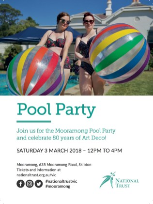 Mooramong Pool Party postcard 2018