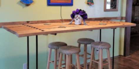 image of bar height pipe table angled amigas