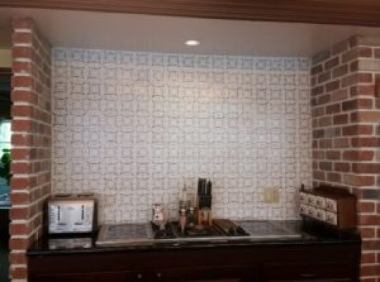 faux cement tile backsplash final product image