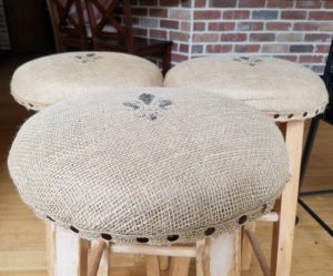 burlap bar stool redo 3 chairs sides amigas4all