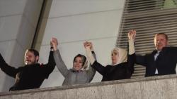 De derecha a izquierda: El presidente turco, Recep Tayyip Erdogan, su esposa, su hija Esra y su yerno Berat Albayrak.