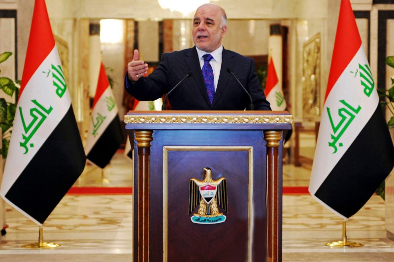 Iraqi premier-designate Haider al-Abadi speaks at his first press conference since accepting the nomination to be Iraq's next prime minister, in Baghdad, Iraq, Monday, Aug. 25, 2014. Al-Abadi called on the country's numerous Shiite militias and tribes to come under government control and stop acting independently on Monday, as violence across the country killed over 40 people in areas where the Muslim sect dominates. Since early this year, Iraq has been facing a growing Sunni insurgency with the Islamic State group and allied Sunni militants who have taken over areas in the country's west and north. (AP Photo/Office of the Iraqi Prime Minister)