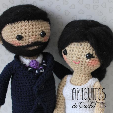 Nueva Pareja de novios, personalizados-Amiguitos de Crochet
