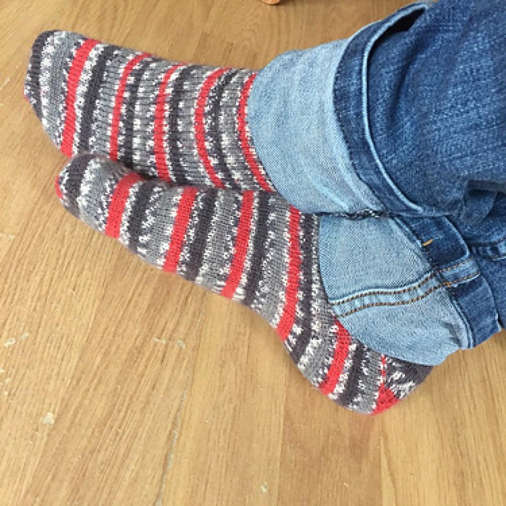 Simple handknit socks in self patterning yarn