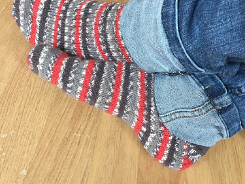 Simple handknit socks in self patterning yarn