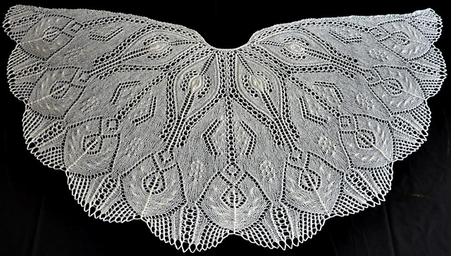 White art deco style wedding shawl - knitting pattern