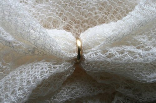 Wedding ring knitted lace shawl
