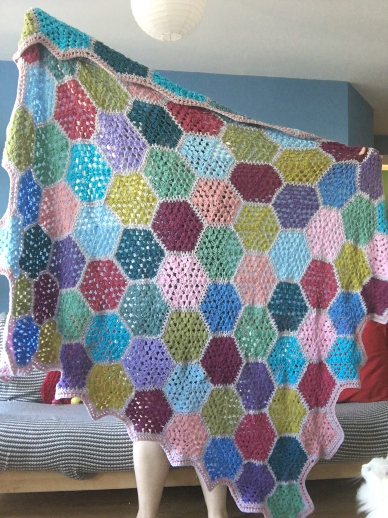 Colourful crochet granny square blanket