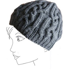 Heavily cabled hat by Impeccable Knits