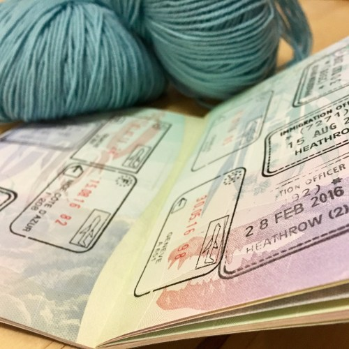 holiday yarn and stamps in my passport.