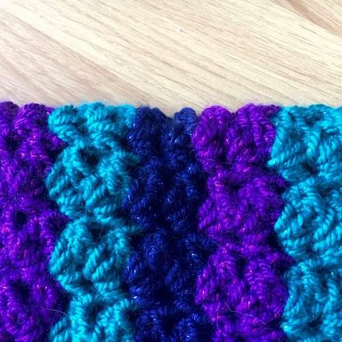 Crochet with glitter yarn