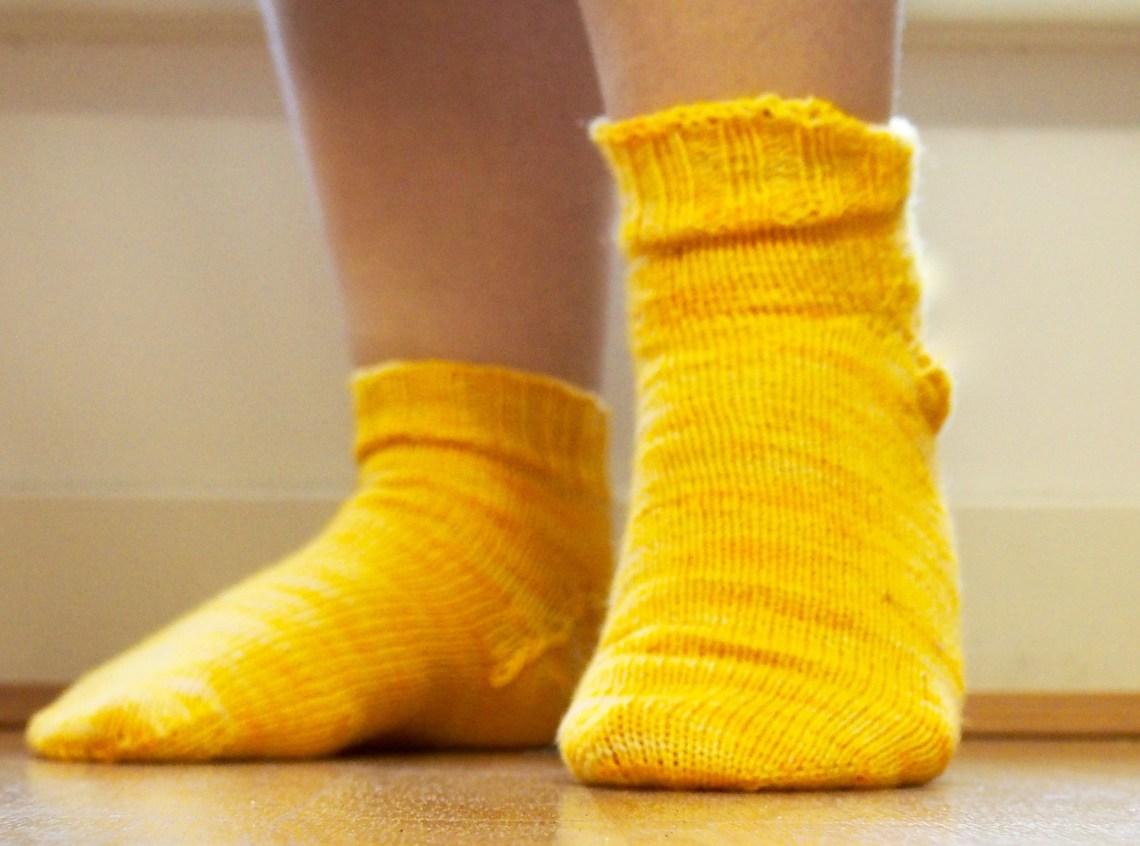 Completed handknit socks