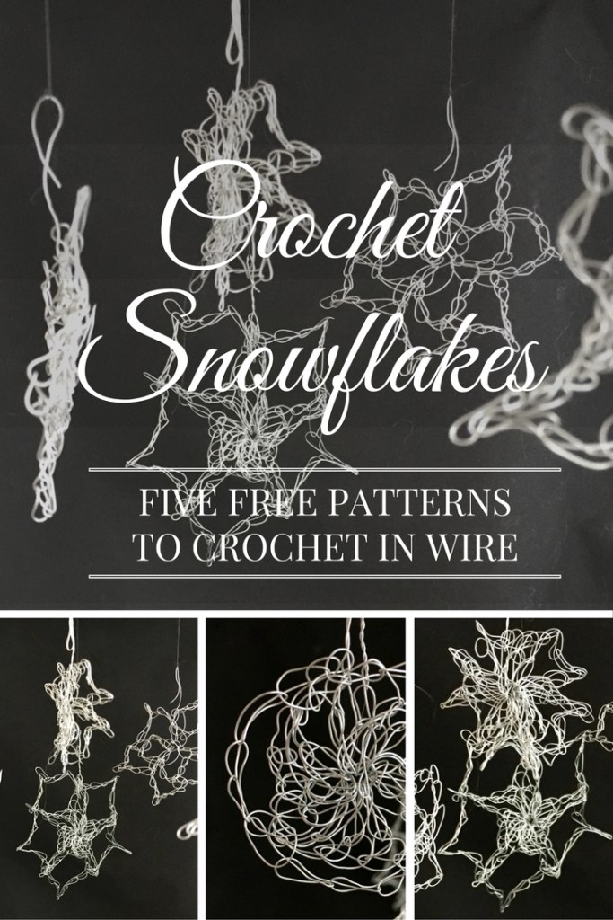 Free crochet snowflake patterns to make out of wire - very easy patterns!