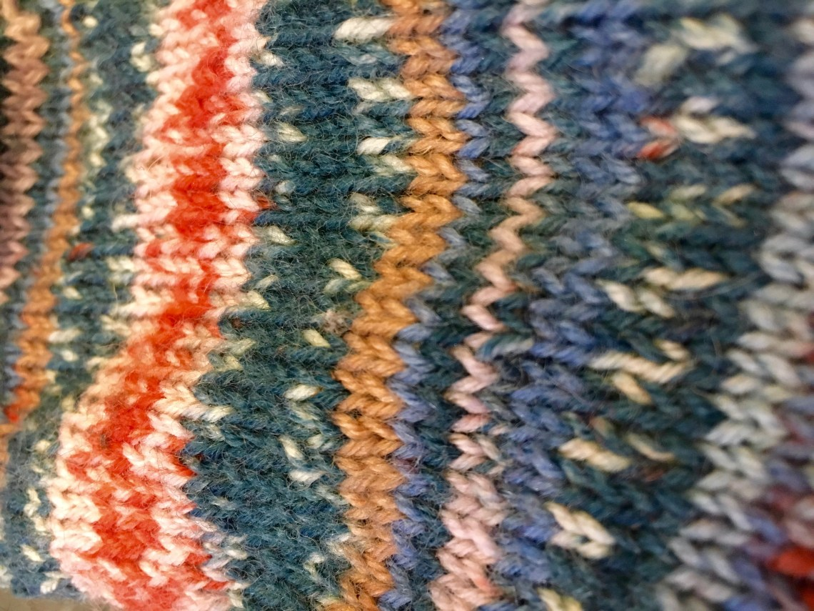 Self patterning sock yarn knit up