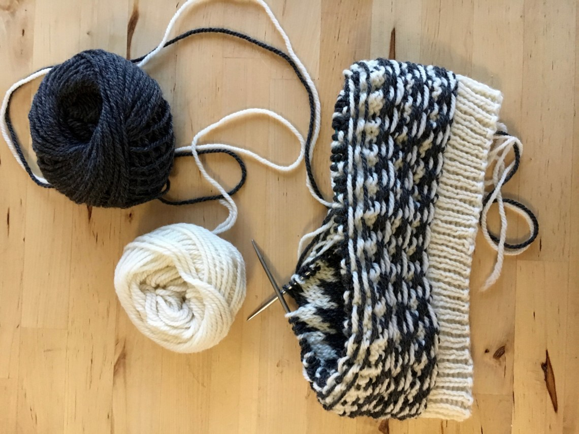 Black and white colourwork knitted hat