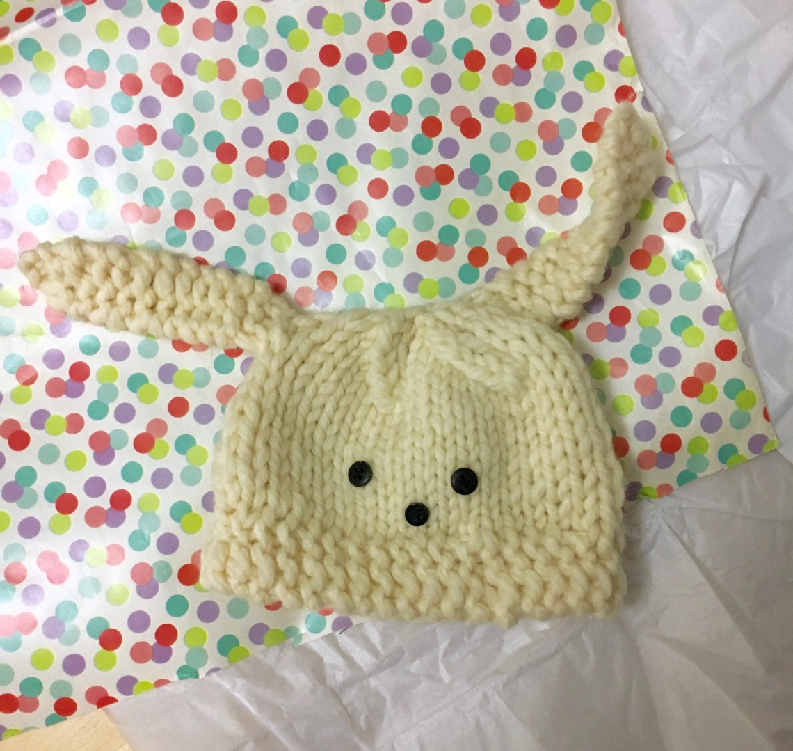 Add bunny ears to a baby hat for Last minute knitted gift ideas