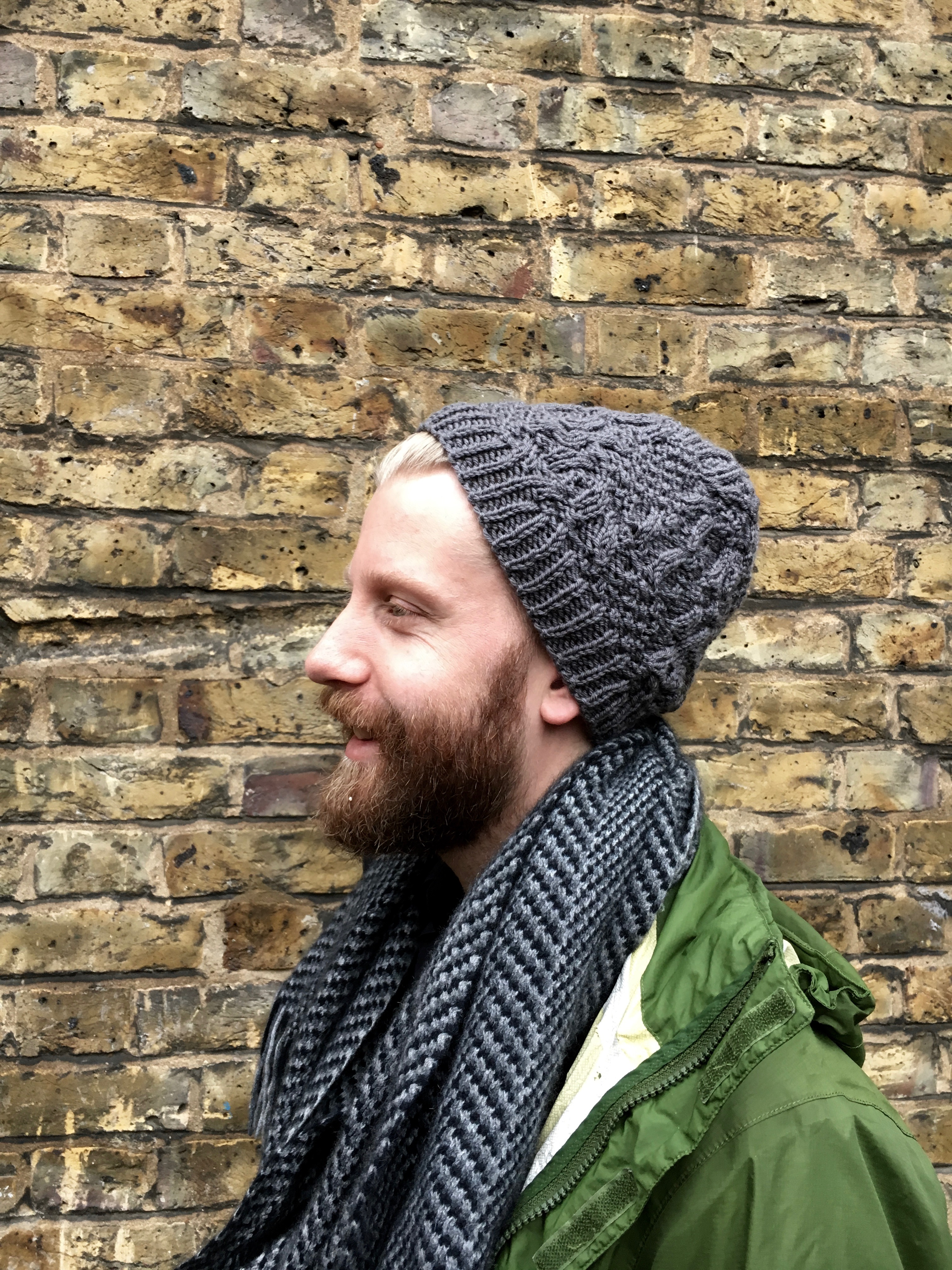 Grant wearing the hat I knit