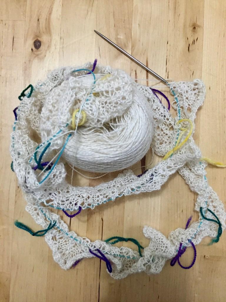 A knitted wedding shawl in progress