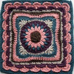 Dense vintage crochet afghan block