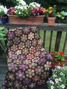 Flower granny square blanket