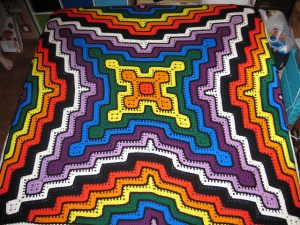 Granny square and ripple blanket