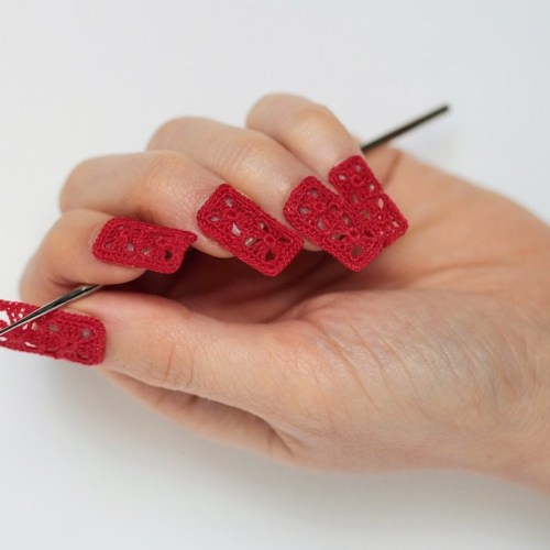 crochet granny square nail art