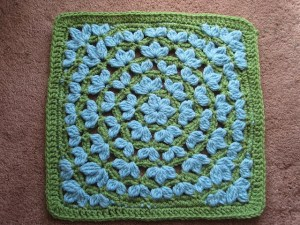floral crocheted granny afghan block