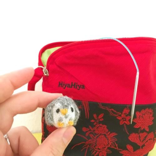 Knitted amigurumi owl using HiyaHiya Sharp Sock Needles