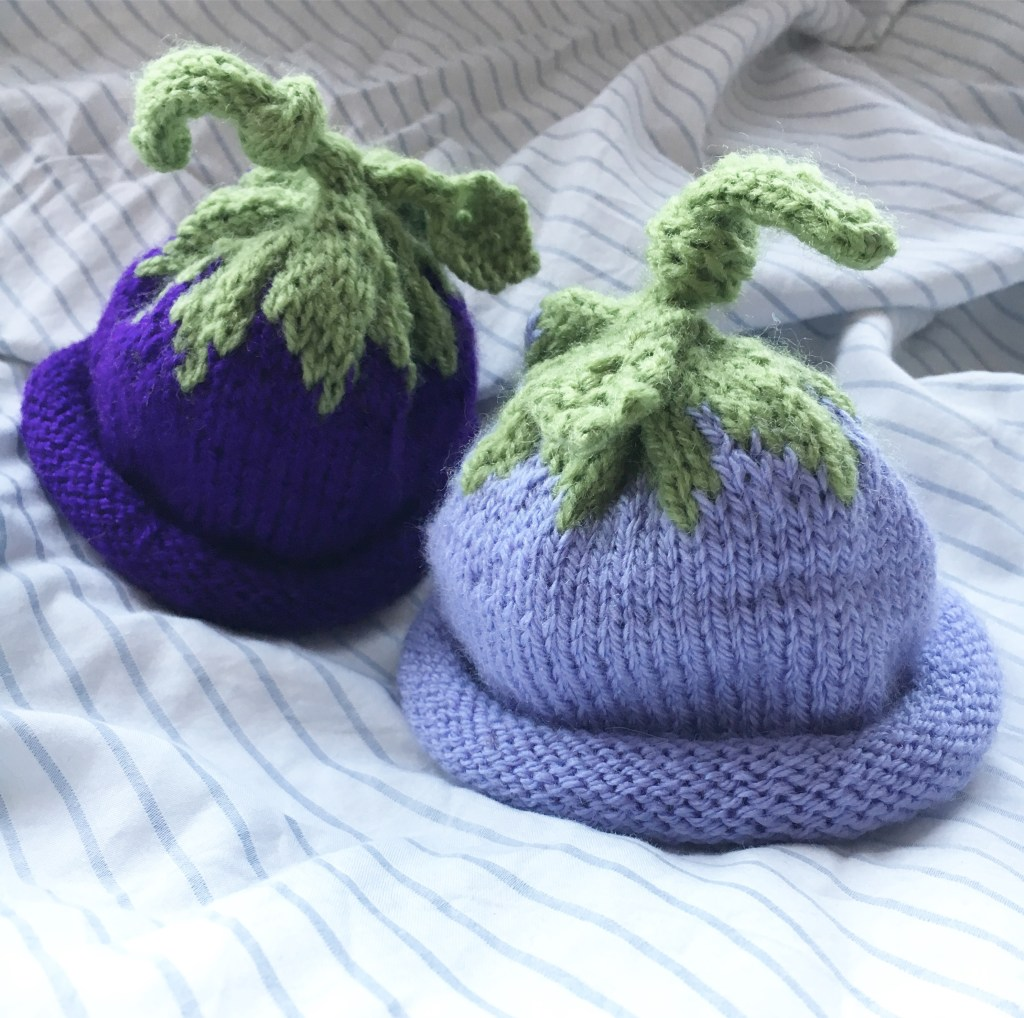 Berry Baby Hats in purples - knitted gifts for twins