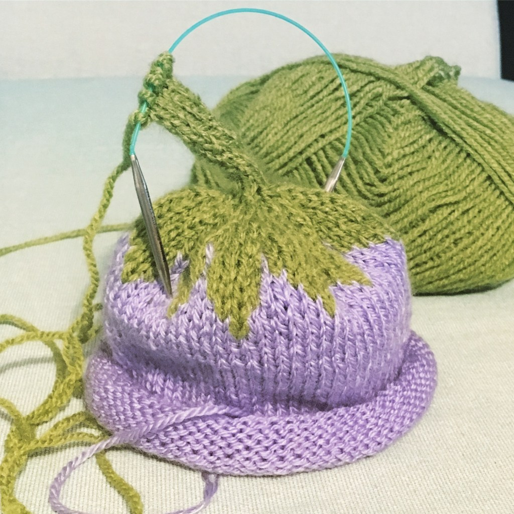 Working the icord on a berry baby hat with a HiyaHiya Sharps Needles Sock Needle