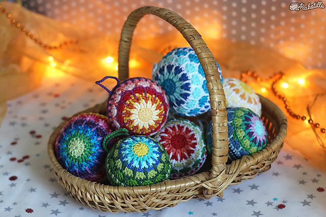 complex crocheted christmas baubles