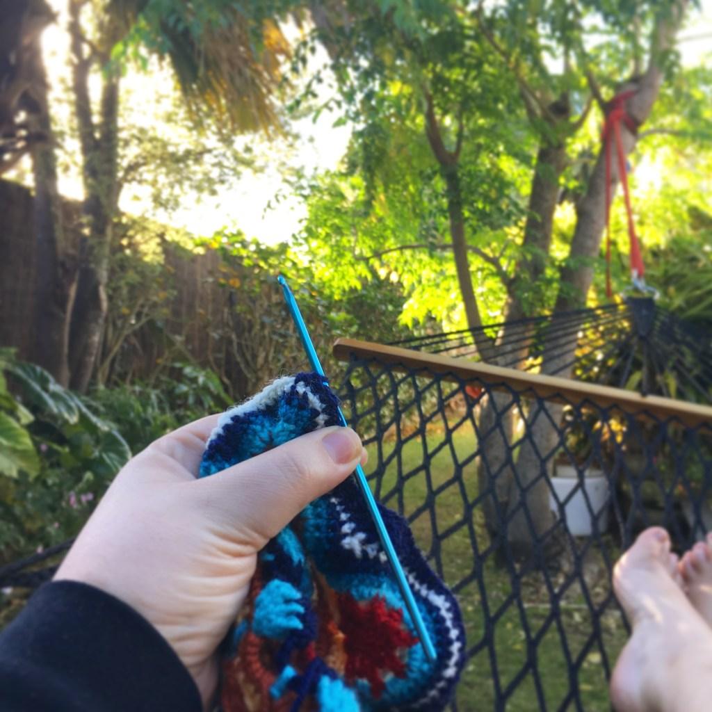 Crocheting in a hammock!