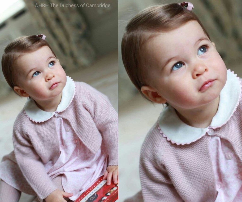 Princess Charlotte in a pink knitted jacket
