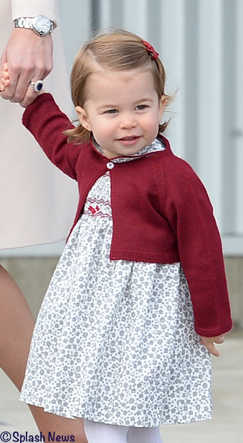 princess charlotte in a red cropped cardigan