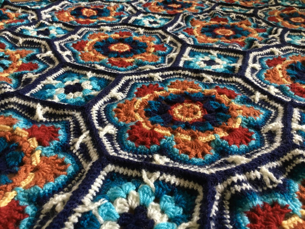 Close up of a completed Persian Tiles Crochet Blanket