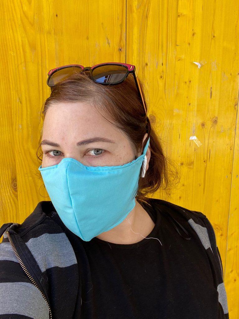 Wearing a homemade facemask
