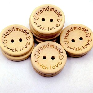 """Handmade with love"" buttons 25mm"