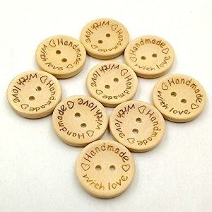 """Handmade with love"" buttons 20mm"