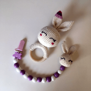 bunny teether and pacifier clip