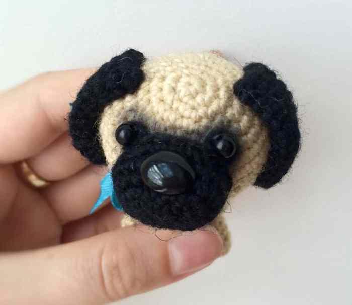 Crochet baby pug dog amigurumi pattern