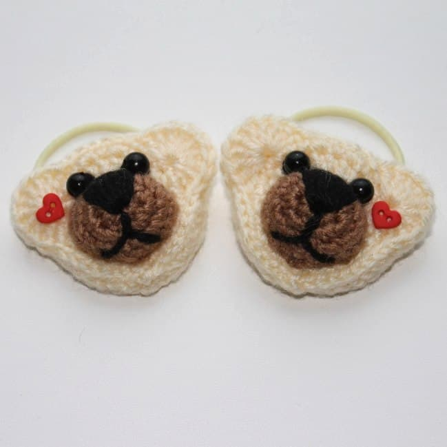 Crochet bear hair ties amigurumi pattern